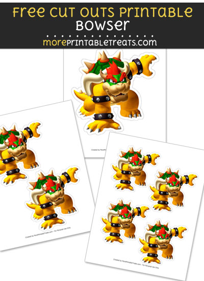 Free Bowser Cut Out Printable with Dotted Lines - Mario Kart