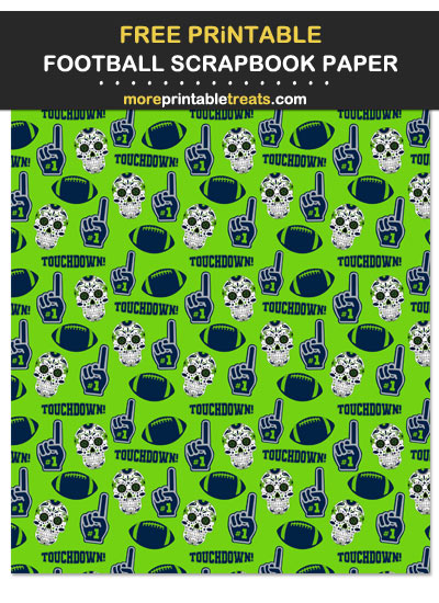Free Printable Blue, Green, and Gray Football Scrapbook Paper