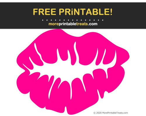 Free Printable Bright Pink Lipstick Kiss Cut Out