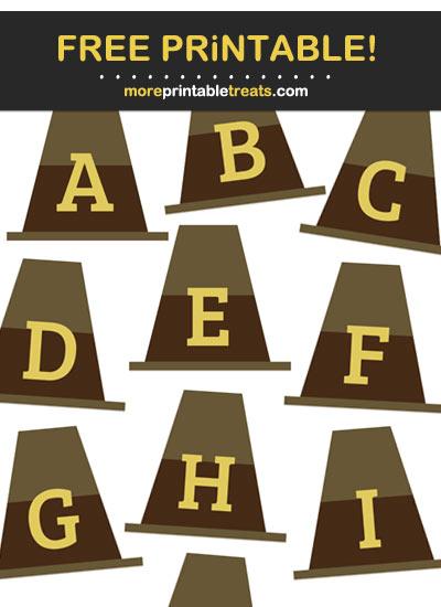 Free Printable Brown Pilgrim Hat Alphabet - Letters, Numbers, Punctuation