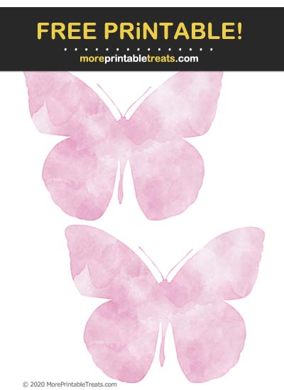 Free Printable Bubblegum Pink Watercolor Butterfly Cut Outs
