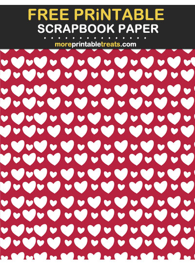 Free Printable Cabernet Red Hearts Scrapbook Paper
