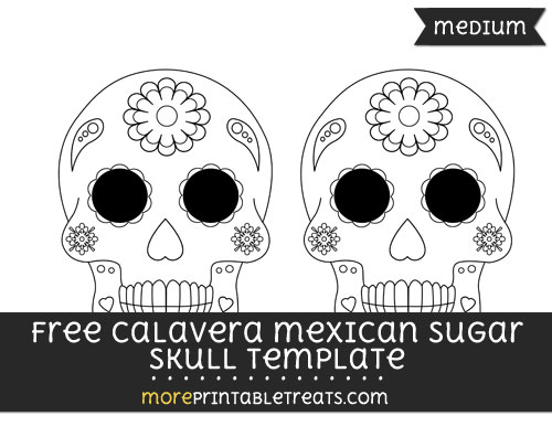 Free Calavera Mexican Sugar Skull Template - Medium