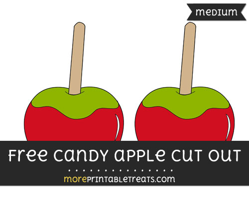 Free Candy Apple Cut Out - Medium Size Printable