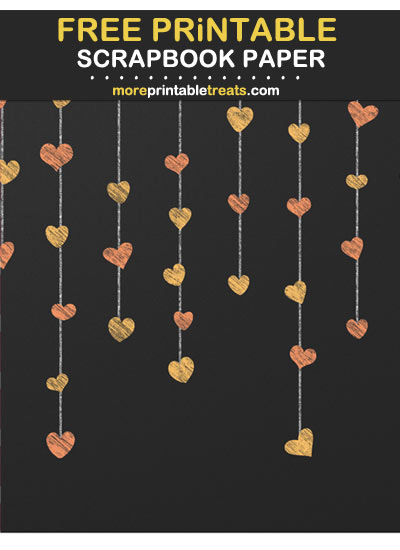 Free Printable Cantaloupe Orange Hanging Heart Garlands Chalkboard Scrapbook Paper
