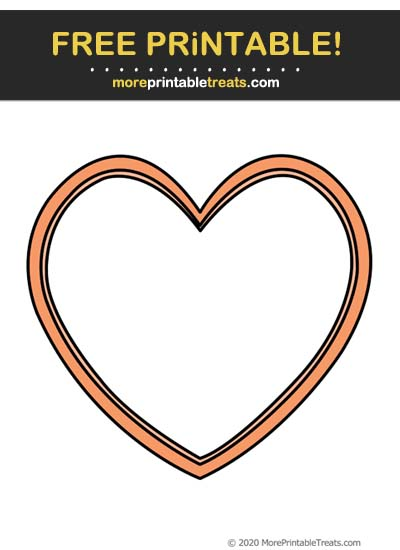 Free Printable Cantaloupe Orange Heart Frame Cut Out