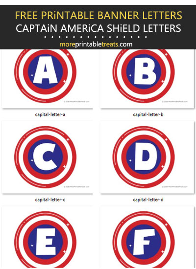 Free Printable Captain America Shield Alphabet Banner Letters