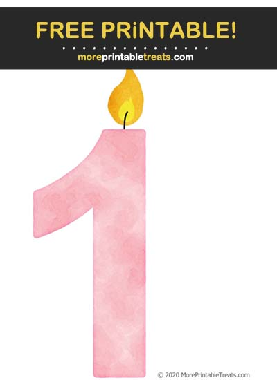 Free Printable Carnation Pink Watercolor Birthday Candle Number 1 Cut Out