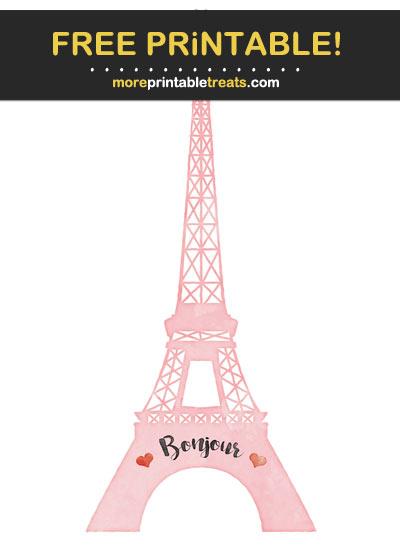 Free Printable Carnation Pink Watercolor Eiffel Tower