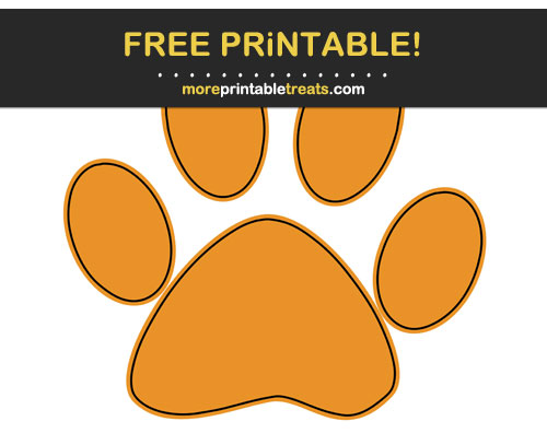 Free Printable Carrot Orange Black-Outlined Paw Print