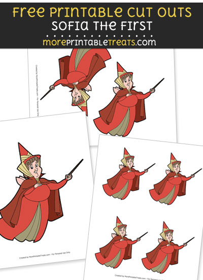 Free Cartoon Flora the Good Fairy from Sofia the First Cut Outs - Printable