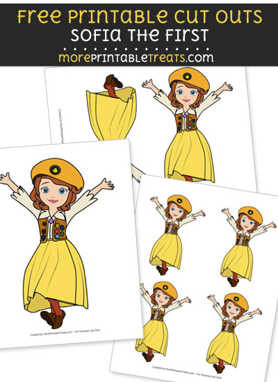 Free Cartoon Sofia in Buttercup Scout Outfit Cut Outs - Printable - Sofia the First
