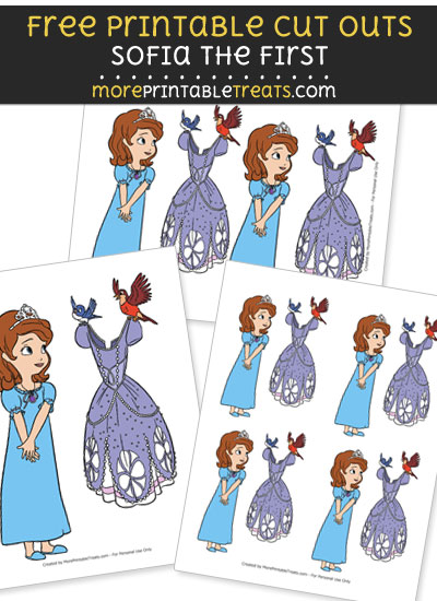 Free Cartoon Sofia the First Getting Dressed Cut Outs - Printable - Sofia the First