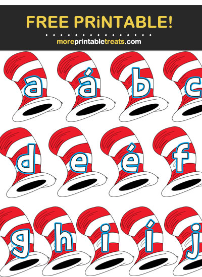 Free Printable Cat in the Hat's Hat Letters, Numbers, and Symbols for DIY Birthday or Baby Shower Banner