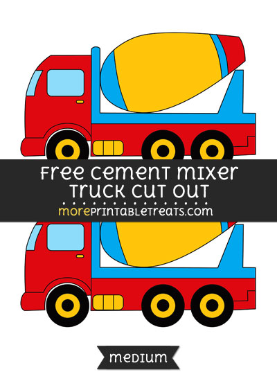 Free Cement Mixer Truck Cut Out - Medium Size Printable