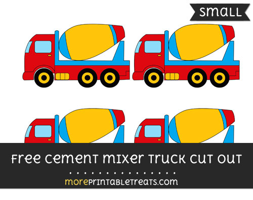 Free Cement Mixer Truck Cut Out - Small Size Printable
