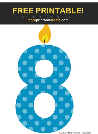 Free Printable Cerulean Blue Polka Dot Birthday Candle Number 8 Cut Out