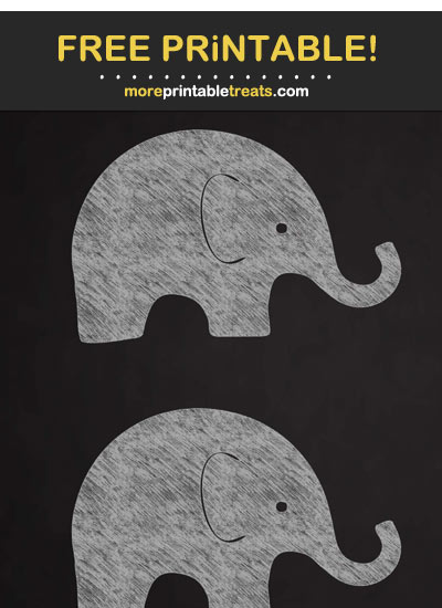 Free Printable Chalk Baby Elephant Cut Out