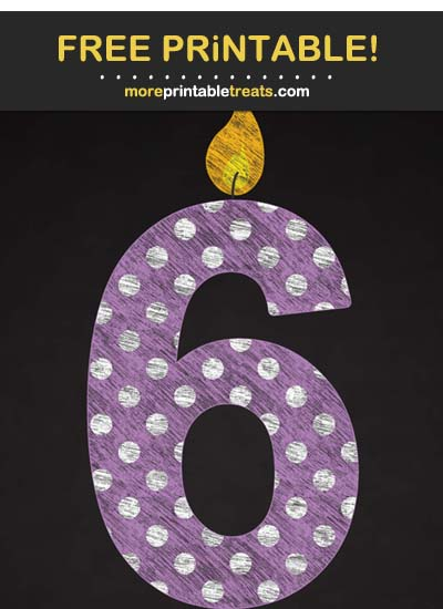 Free Printable Chalk-Style Amethyst Purple Birthday Candle Number 6 Cut Out
