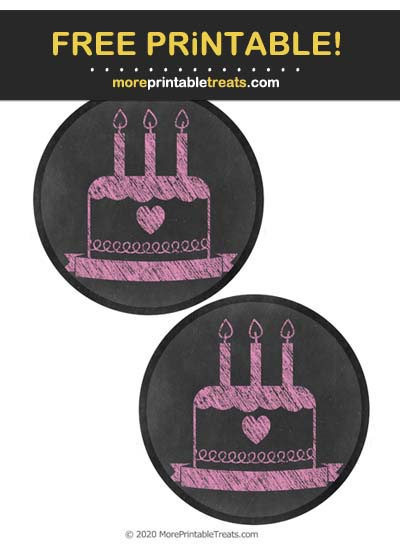 Free Printable Chalk-Style Bubblegum Pink Birthday Icon Cut Outs