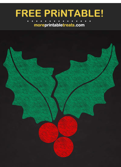 Free Printable Chalk-Style Christmas Holly Berries Cut Out