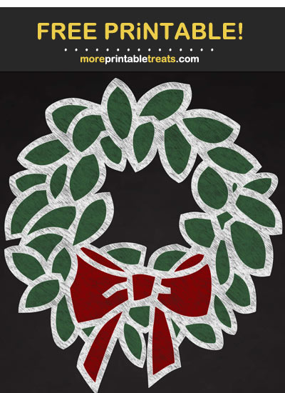 Free Printable Chalk-Style Christmas Wreath Cut Out