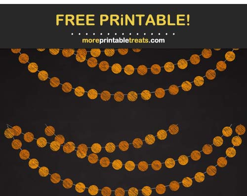 Free Printable Chalk-Style Orange Circles Bunting Banner Cut Outs