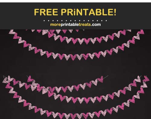 Free Printable Chalk-Style Pink Hearts Bunting Banner Cut Outs