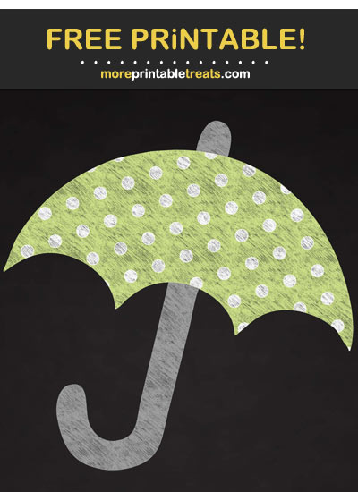 Free Printable Chalk-Style Polka Dot Umbrella Cut Out