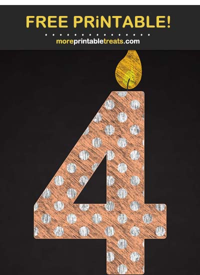 Free Printable Chalk-Style Sherbet Orange Birthday Candle Number 4 Cut Out