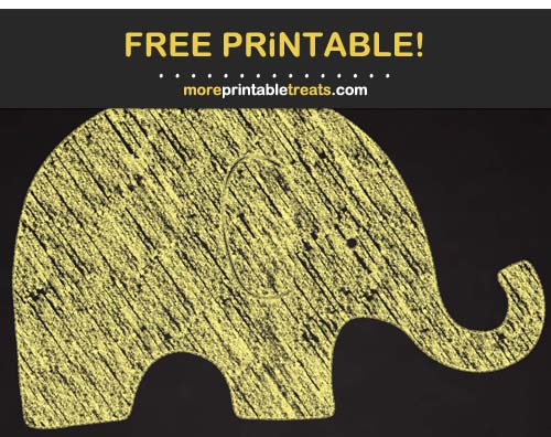 Free Printable Chalk-Style Yellow Baby Elephant Cut Out