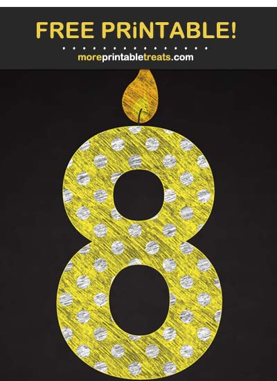 Free Printable Chalk-Style Yellow Birthday Candle Number 8 Cut Out