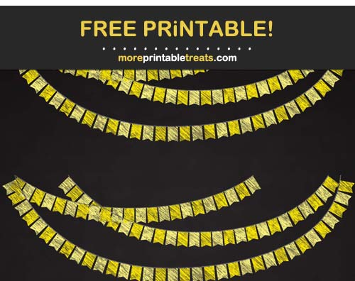 Free Printable Chalk-Style Yellow Swallowtail Bunting Banner Cut Outs
