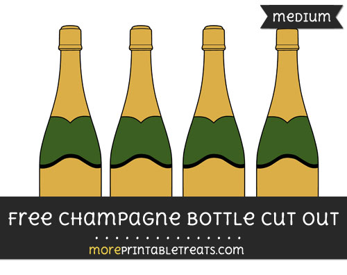 Free Champagne Bottle Cut Out - Medium Size Printable