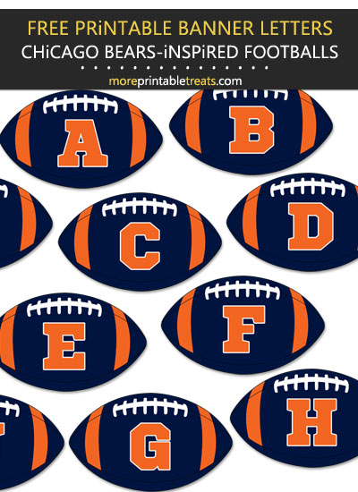 Free Printable Chicago Bears-Inspired Football Alphabet