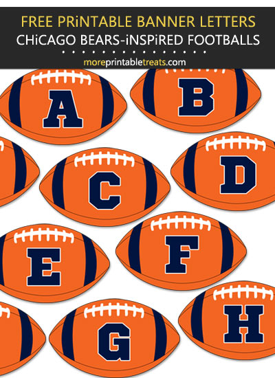Free Printable Chicago Bears-Inspired Football Bunting Banner
