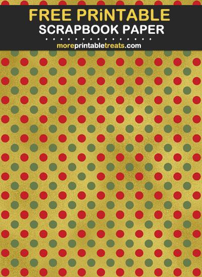 Free Printable Christmas Theme Polka Dot Scrapbook Paper
