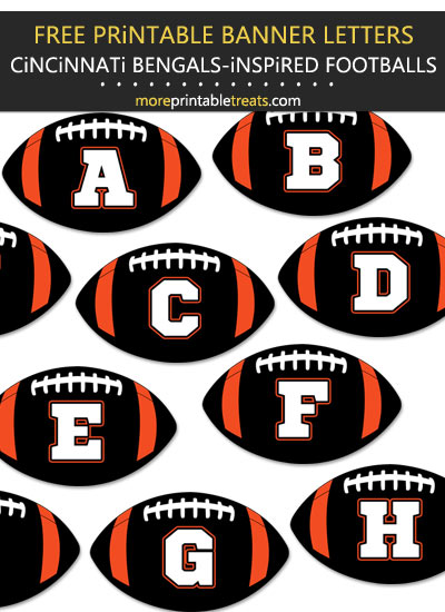 Free Printable Cincinnati Bengals-Inspired Football Alphabet