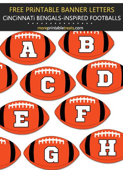 Free Printable Cincinnati Bengals-Inspired Football Bunting Banner