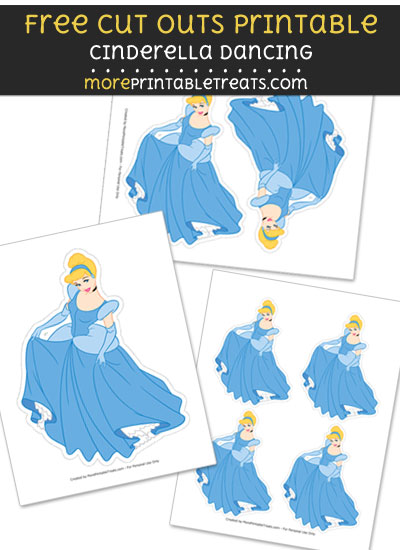 Free Cinderella Dancing Cut Out Printable with Dotted Lines - Cinderella