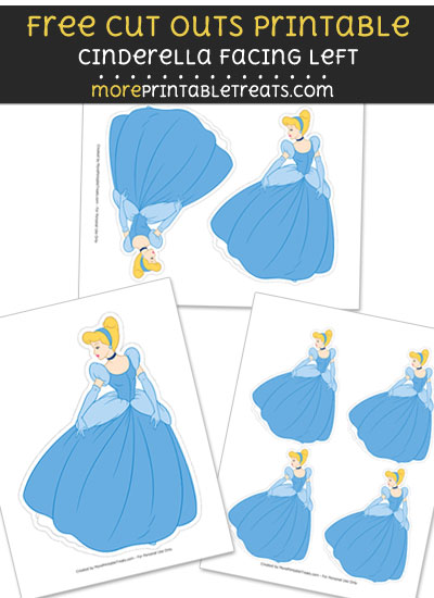 Free Cinderella Facing Left Cut Out Printable with Dotted Lines - Cinderella