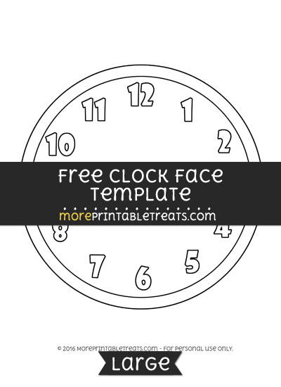 Free Clock Face Template - Large