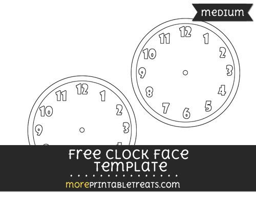 Free Clock Face Template - Medium