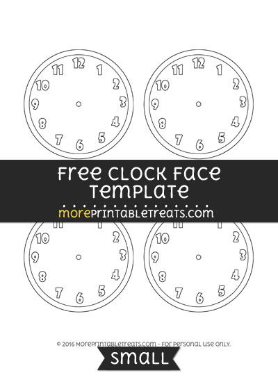 Free Clock Face Template - Small