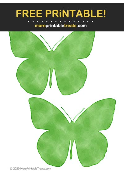 Free Printable Clover Green Saturated Watercolor Butterfly Cut Outs