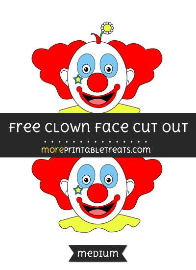 Free Clown Face Cut Out - Medium Size Printable
