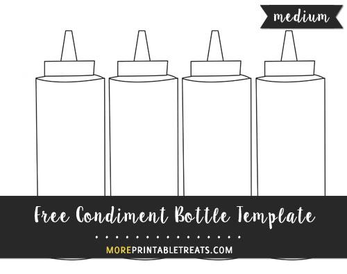 Free Condiment Bottle Template - Medium Size