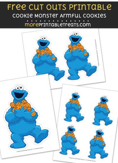 Free Cookie Monster Armful of Cookies Cut Out Printable with Dotted Lines - Sesame Street