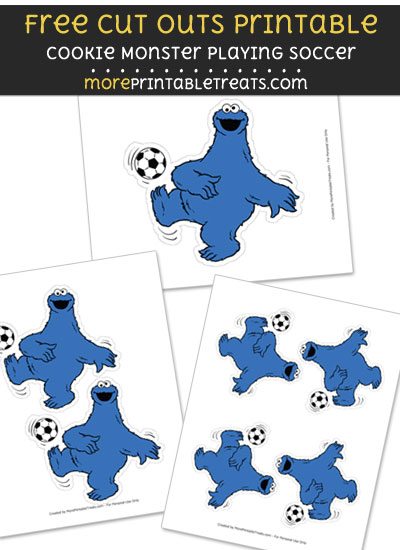 Free Cookie Monster Playing Soccer Cut Out Printable with Dotted Lines - Sesame Street