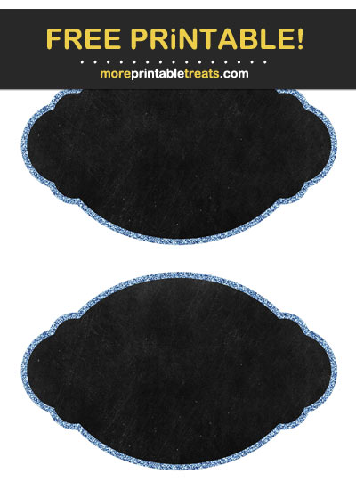 Free Printable Cornflower Blue Glitter Border Chalkboard Labels